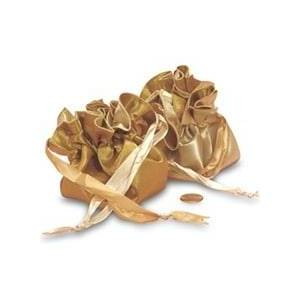 Paper Mart Gold and Champagne Satin Reversible Pouches Diameter - 9 - Quantity: 12 - Fabric Bags by Paper Mart
