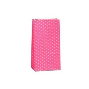 Paper Mart Hot Pink Mini Polka Dot SOS Bags Colored - 3-5/8 X 2-1/4 X 7 - Gusset - 2 1/4 - Quantity: 2000 - Grocery Bags by Paper Mart