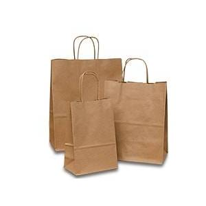 Paper Mart Kraft Paper Bags - 5-1/2 X 8-3/8 - Gusset - 3 1/4 - Quantity: 250 - Twist Handle Bags - Baseweight: 60 Lbs