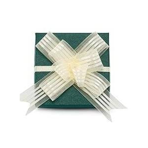 Paper Mart Ivory Striped Fabric Butterfly Bow 4 Fabric Cloth - Quantity: 50 - Organza Ribbon Width: 4 by Paper Mart