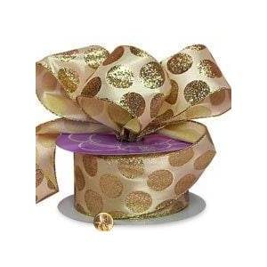 """Paper Mart Gold and Ivory Dots Glitter Satin Ribbon - 2-1/2"""" X 25yd - Silk by Paper Mart"""