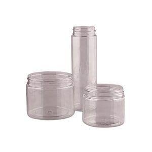 Paper Mart Cosmetic Clear Short Screw Top Pet Jar 16 OZ Plastic - Quantity: 24 - Plastic Jars - Diameter: 3 5/8 - Key Code: H Height/Depth: 3 1/4