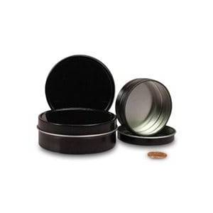 """Paper Mart Metal 1/4 Oz Black Shallow Round Tin Can - Quantity: 1800 - Tins - Diameter: 1 5/16"""" Height/Depth: 1/2"""" by Paper Mart"""
