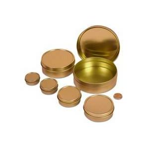 """Paper Mart 1/2oz Gold Shallow Round Tin Can - Quantity: 1800 - Tins - Diameter: 1 9/16"""" Height/Depth: 5/8"""" by Paper Mart"""