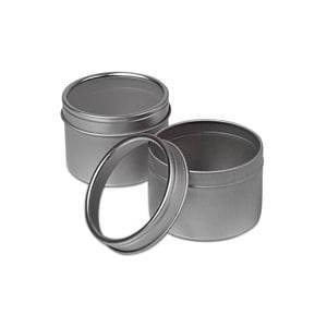 Paper Mart Clear Top Round Steel Tin Can 12 Oz - Quantity: 24 - Tins - Diameter: 4 3/8 - Type: Shallow Height/Depth: 1 5/8 by Paper Mart