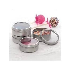 Paper Mart Metal 4oz Window Shallow Round Steel Stackable Tin Can Diameter - 3 1/8 - Quantity: 432 - Tins Height/Depth: 1 1/4 by Paper Mart