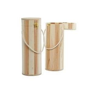 Paper Mart Round Ntrl Wood Wine Box W/Rope Hdle - 4-3/16 X 12-1/2 - Metallic Diameter - 12 1/2 - Packaging by Paper Mart