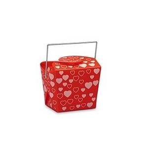 "Paper Mart Valentines Red With White Hearts Plastic Wire Handle Box - 4"" X 3-1/2"" - Quantity: 12 - Plastic Boxes by Paper Mart"