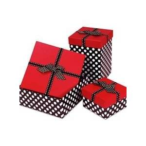 """Paper Mart Red Top Polka Dot Box with Ribbon - 5"""" X 5"""" X 3"""" - Grosgrain - Quantity: 24 - Candy Packaging by Paper Mart"""