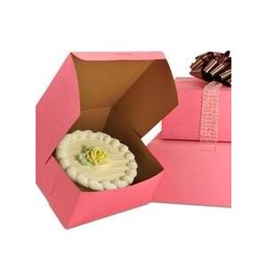 Paper Mart Pink Bakery Box - 9 X 9 X 5 - Cardboard - Quantity: 100 # Ofpiece: 1 by Paper Mart
