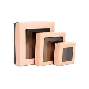 Paper Mart Bakery Coral/Chocolate Sq Wndw Cookie Box-Pk Colored - 8 X 8 X 2-1/2 - Cardboard - Quantity: 25 by Paper Mart