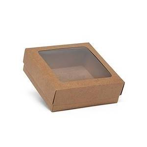 Paper Mart Bakery Bi-Colored Cookie Box With Square Window - Kraft - 8 X 8 X 2-1/2 - Cardboard - Quantity: 25 by Paper Mart