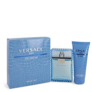 Versace Man for Men, Gift Set (3.3 oz EDT Spray (Eau Frachie) + 3.3 oz Shower Gel)