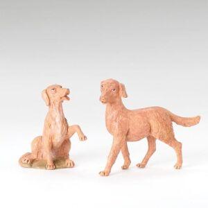 "Roman Inc. Drop Ship Orders Fontanini Dog Figure 2 pc set 12"" Scale"