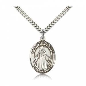 Bliss Manufacturing Sterling Silver Our Lady of Peace Pendant w/ chain