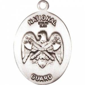Bliss Manufacturing Sterling Silver St. Christopher Pendant/Nat'l Guard  - Silver