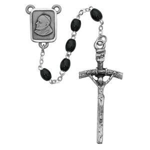 McVan - DROP SHIP ORDERS Black Wood Papal Rosary  - Black