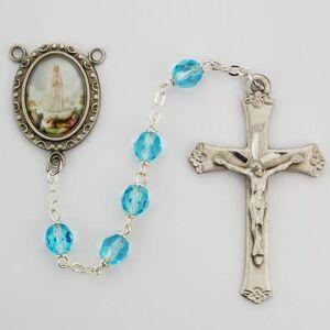 McVan - DROP SHIP ORDERS Aqua Glass Lady of Fatima Rosary  - Blue