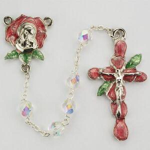 McVan - DROP SHIP ORDERS Aurora Rose Petal Rosary  - Clear