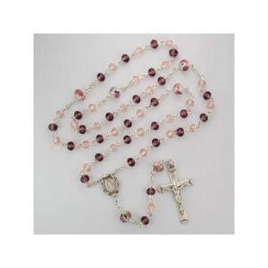 McVan - DROP SHIP ORDERS Pink Multi Tin Cut Crystal Rosary  - Pink