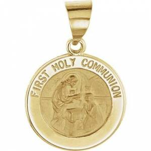 Stuller 14kt Yellow Gold 14.75mm Round Hollow First Communion Medal