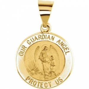 Stuller 14kt Yellow Gold 15mm Round Hollow Guardian Angel Medal