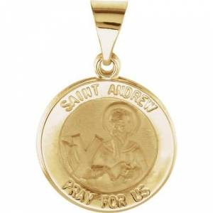 Stuller 14kt Yellow Gold 15mm Round Hollow St. Andrew Medal