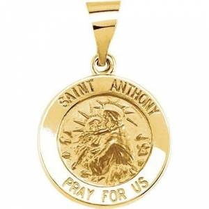 Stuller 14kt Yellow Gold 15mm Round Hollow St. Anthony Medal