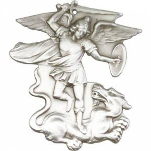 Bliss Manufacturing Antique Silver St. Michael the Archangel Keychain  - Silver