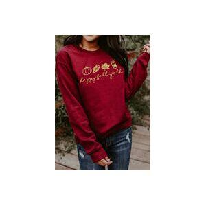 Bellelily Thanksgiving Pumpkin Happy Fall Football Drink Leaf Sweatshirt- Red