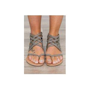 Bellelily Summer Cross-Tied Zipper Flat Sandals
