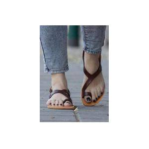 Bellelily Solid Buckle Strap Flat Sandals -Coffee