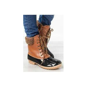 Bellelily Color Block Lace Up Round Toe Zipper Boots