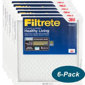 3M Filtrete Healthy Living 1900 MPR Ultimate Allergen Reduction Filters 20x20x1 6-Pack