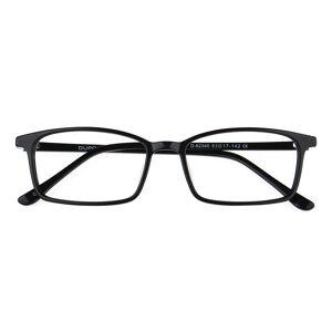 GlassesShop Men's Rectangle Eyeglasses, Full Frame Plastic Black - FZ1044