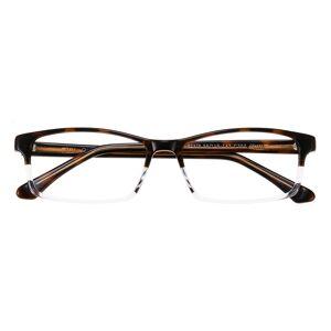 GlassesShop Women Men's Rectangle Eyeglasses, Full Frame Plastic Brown/Crystal - FZ1162
