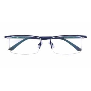 GlassesShop Men's Rectangle Browline Eyeglasses, Half Frame Metal Blue - SM0844