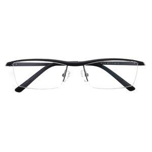 GlassesShop Men's Rectangle Browline Eyeglasses, Half Frame Aluminum Black - SM0847