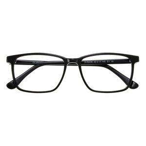 GlassesShop Women Men's Rectangle Horn Eyeglasses, Full Frame Plastic Black - FZ1245