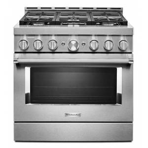 KitchenAid reg; 36'' Smart Commercial-Style Gas Range with 6 Burners  - Heritage Stainless Steel