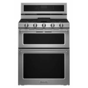 KitchenAid reg; 30-Inch 5 Burner Gas Double Oven Convection Range  - Stainless Steel
