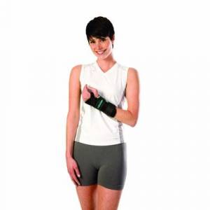 DJO Wrist Brace AirCast A2 With Thumb Spica Nylon / Foam Left Hand Black Medium - 1 Each by DJO