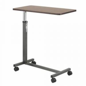 Drive Medical Overbed Table drive Non-Tilt Adjustment Handle 28 to 45 Inch Height Range Walnut Top / Silver Vein Base 1 Each by Drive Medical