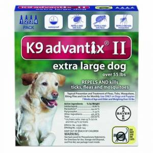 Bayer K-9 Advantix II for Extra Large Dogs Over 55 lbs 4 Count by Bayer