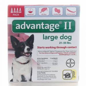Bayer Advantage II Topical Flea Treatment for Dogs & Puppies Upto 21-55 lbs 4 Count by Bayer