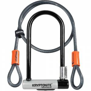 Kryptonite Standard U-Lock & Kryptoflex Cable - Sold Secure Gold Rated - Black-Silver