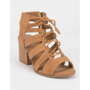 QUPID Lace Up Tan Heeled Sandals