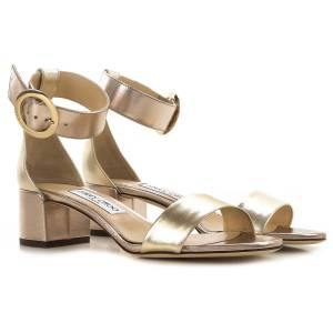 Jimmy Choo Sandals for Women On Sale, Gold, Leather, 2019, 7 9