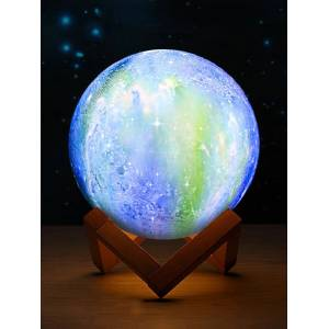 Newchic 3D Printing Moon Lamp Space LED Night Light Remote Control USB Charge Best Gifts