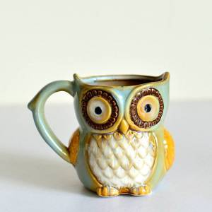 Newchic Retro Night Owl Ceramic Coffee Cup Cartoon Milk Coffee Tea Unique Porcelain Mugs Christmas Gift